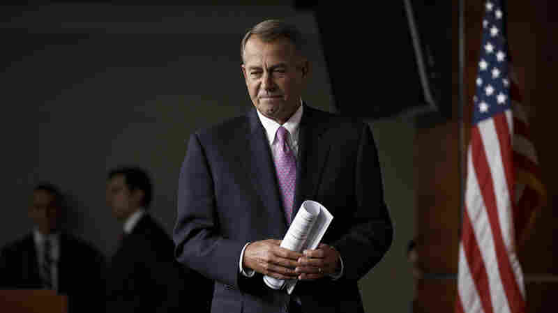 House Speaker John Boehner of Ohio arrives for a news conference on Capitol Hill in Washington, on Thursday.
