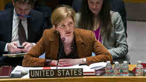 Samantha Power, the U.S. ambassador to the U.N., addresses the Security Council on Monday.