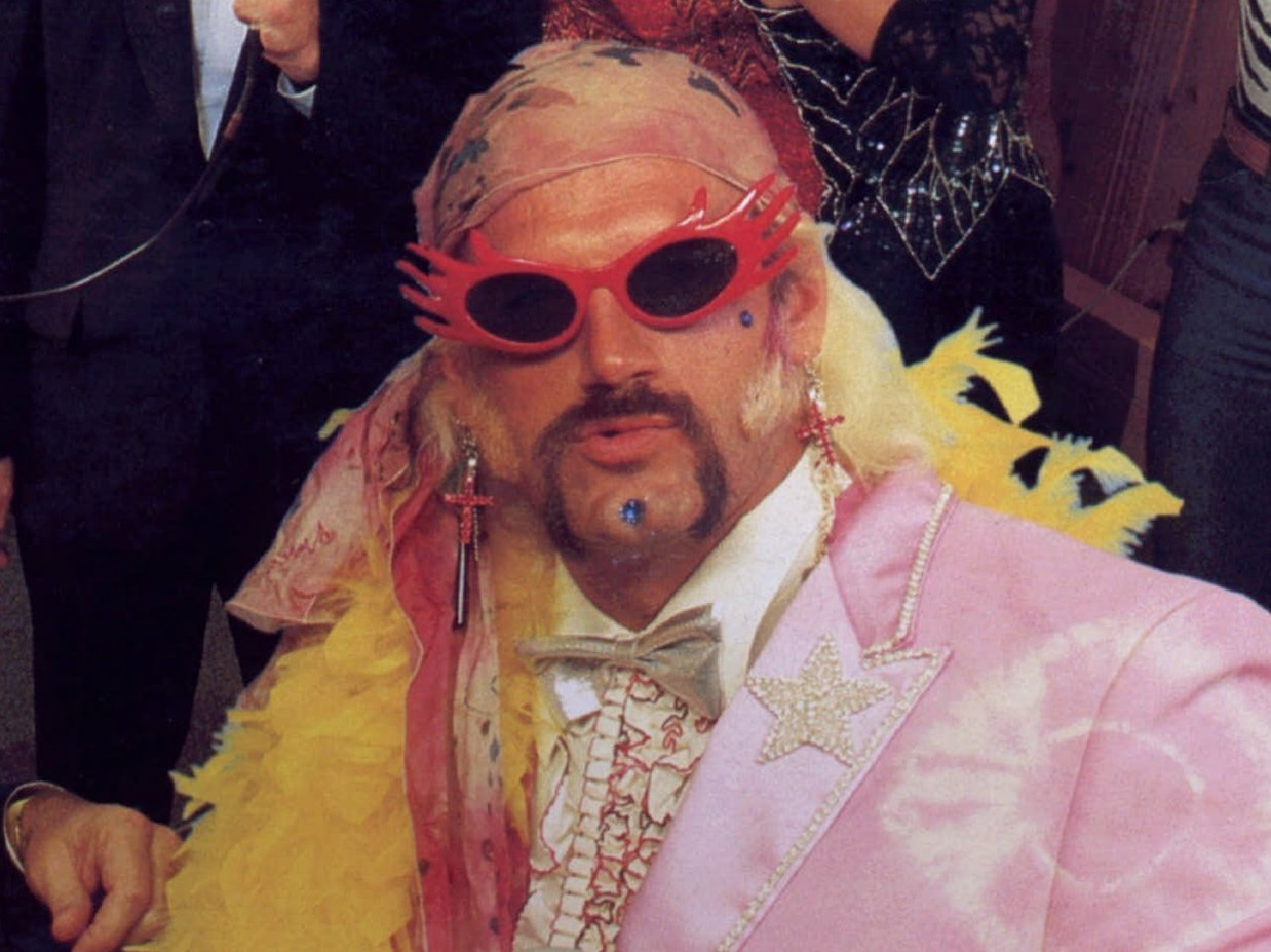 "Former professional wrestler Jesse (The Body) Ventura is shown in full regalia in this photo taken from the WWF's ""The Wrestling Album"" released in 1985."