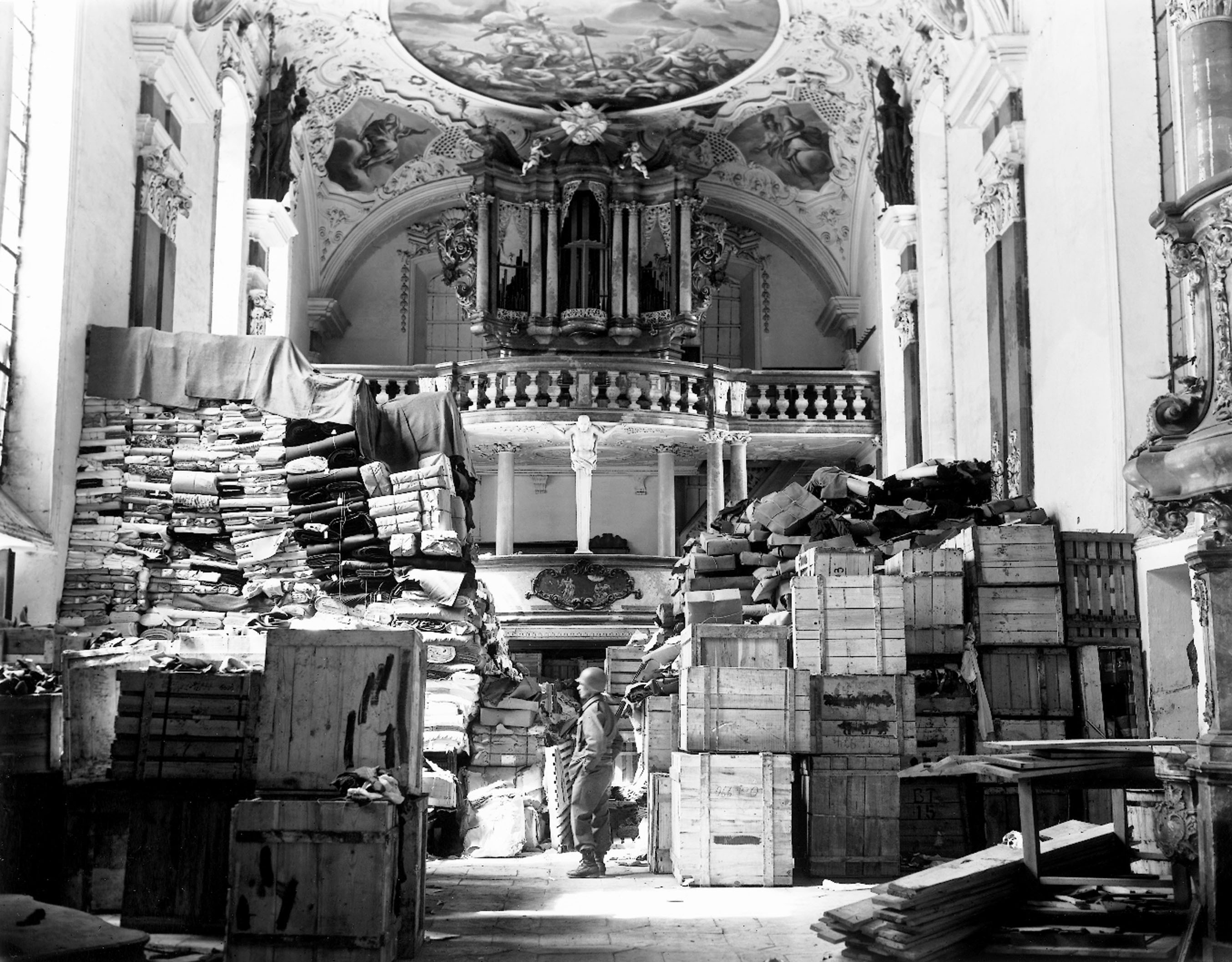 The Nazis used everything from mines to palaces to churches -- like this one in the city of Ellingen --�� to stash everything from stolen art to the regime's records.