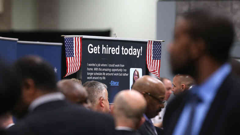 The scene at a Hiring Our Heroes job fair for veteran