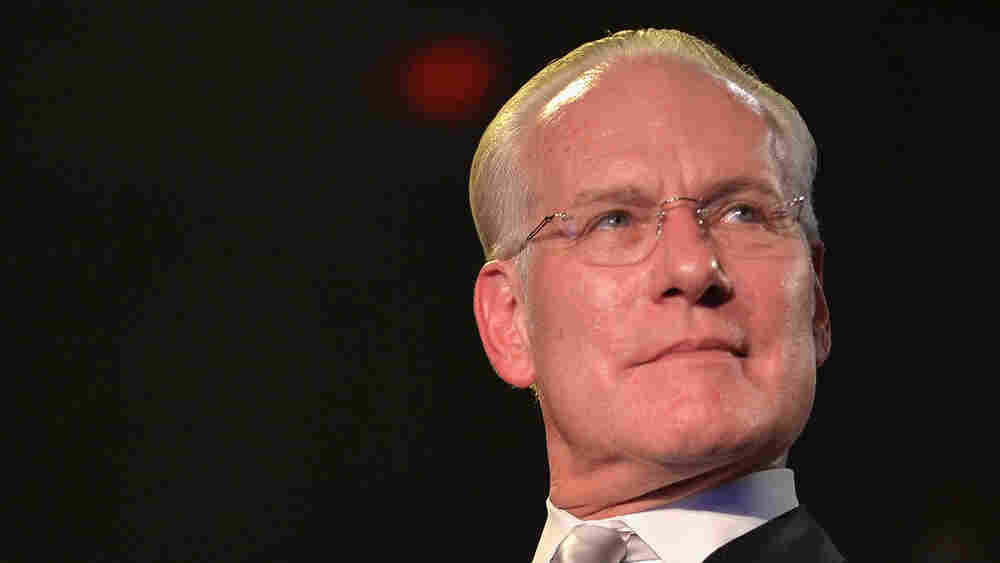 """""""The term 'vegan leather' makes me think that you peeled a carrot and took the skin and made a jacket out of it,"""" says Tim Gunn, pictured above at the Under the Gunn finale fashion show."""