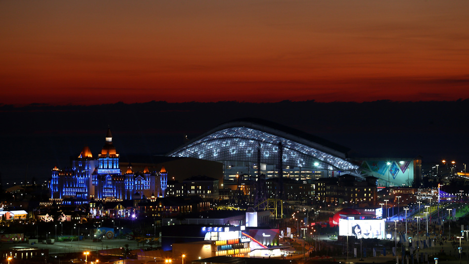 The sun sets at the Olympic Park just ahead of the Opening Ceremony of the Sochi 2014 Winter Olympics at Fisht Olympic Stadium in Russia. (Getty Images)