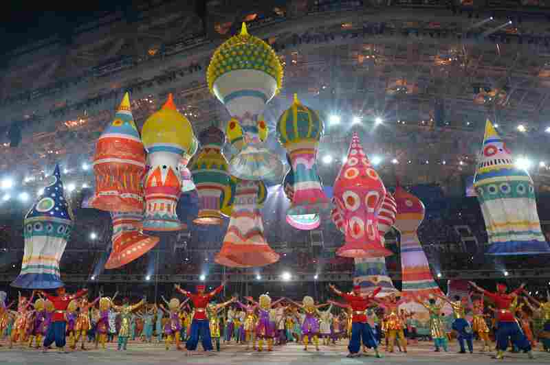 Artists perform during the opening ceremony.