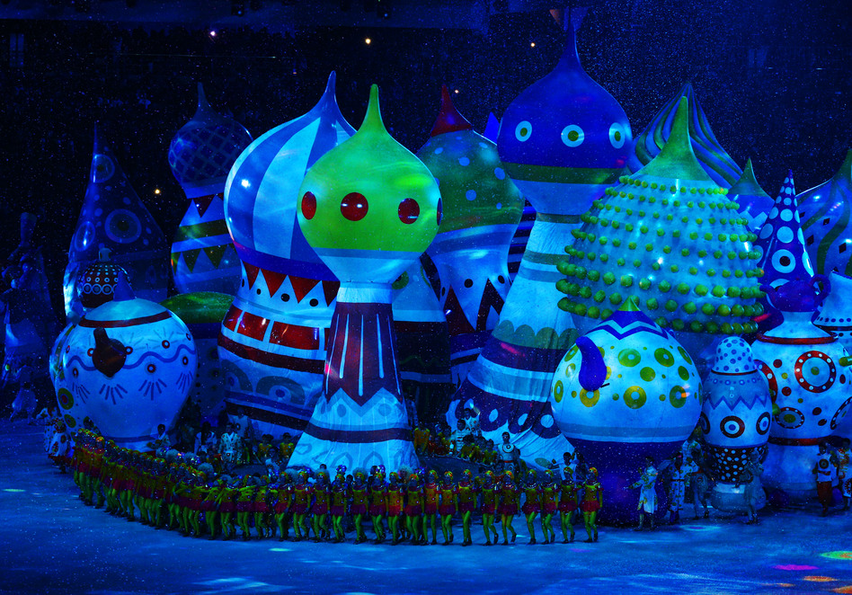 Large helium inflatables create the elements of St. Basil's Cathedral. (Getty Images)