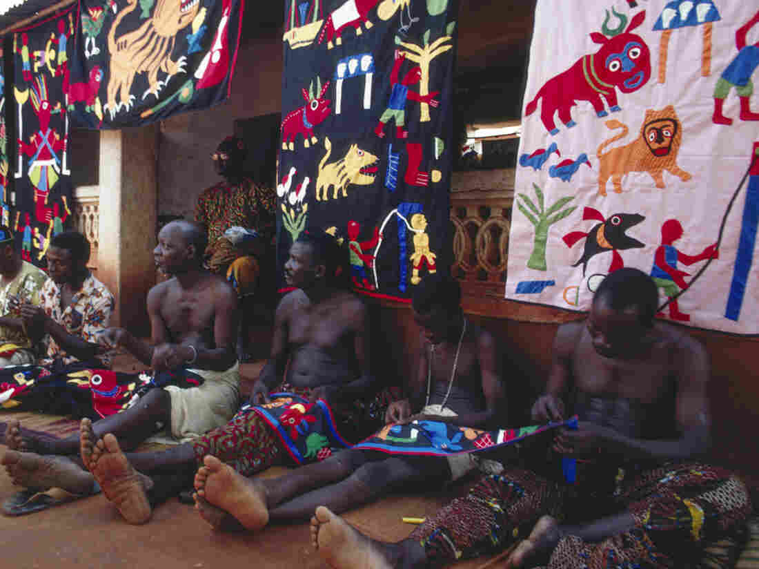 Fon appliqué workers in 1971, Abomey, Republic of Benin.