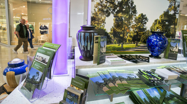 Forest Lawn funeral services has a kiosk at the Glendale Galleria mall in Gl