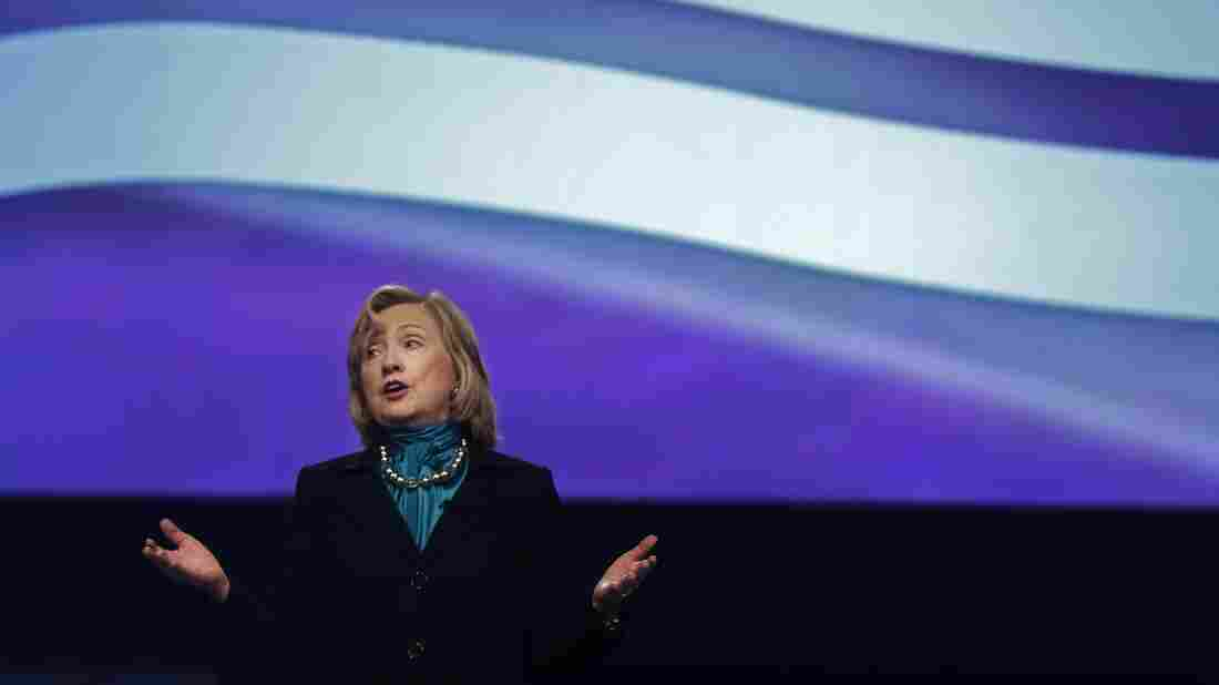 Former Secretary of State Hillary Clinton delivers remarks to the National Automobile Dealers Association meeting in New Orleans on Jan. 27.