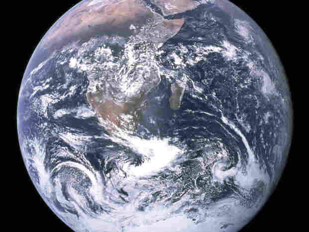 """The """"Blue Marble"""" photo taken by the crew of Apollo 17 in 1972. It ranks high among NASA's most famous images."""