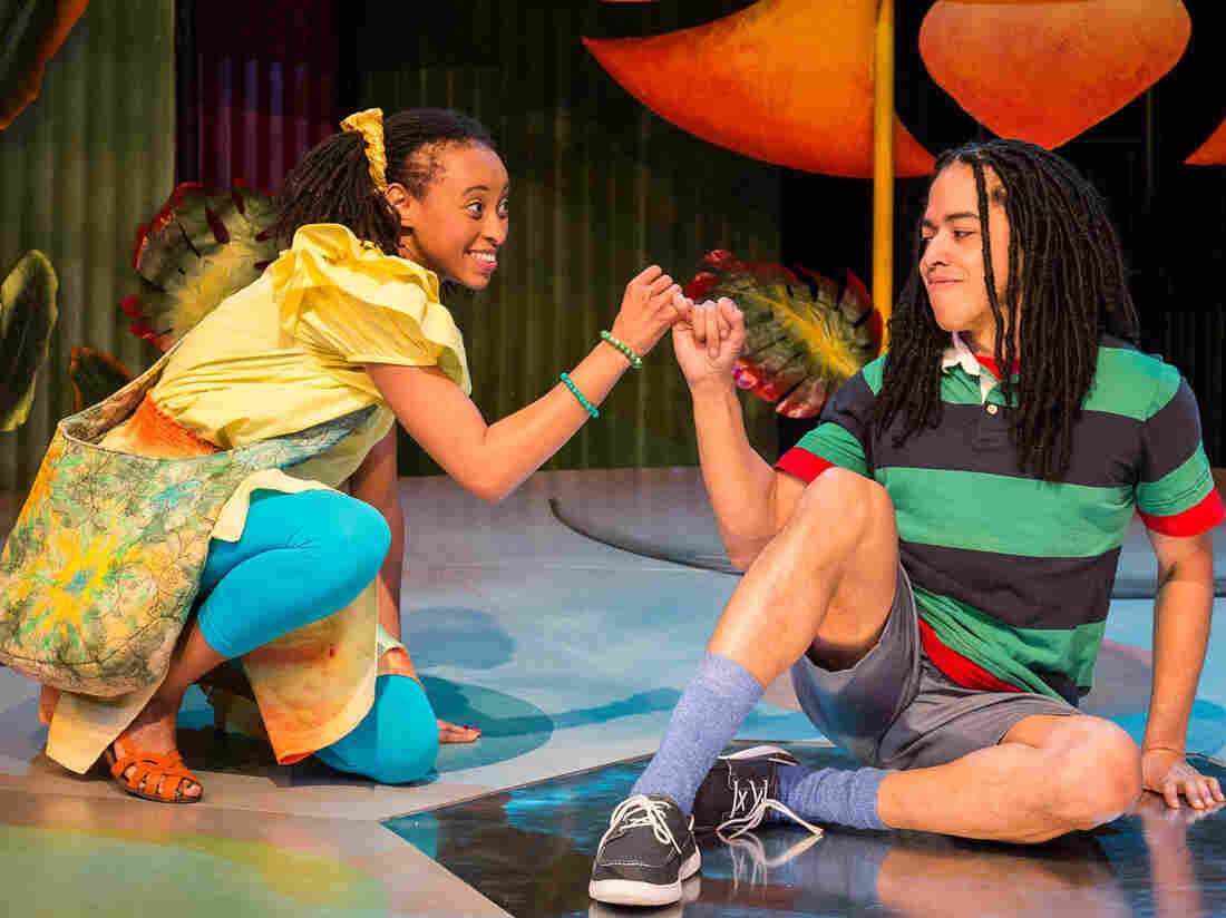 Shy Jamaican boy Ziggy (Jobari Parker-Namdar) and his friend Nansi (Brittany Williams) are main characters in Three Little Birds, an off-Broadway musical driven by Bob Marley's infectious reggae songs — and created by his daughter Cedella Marley.