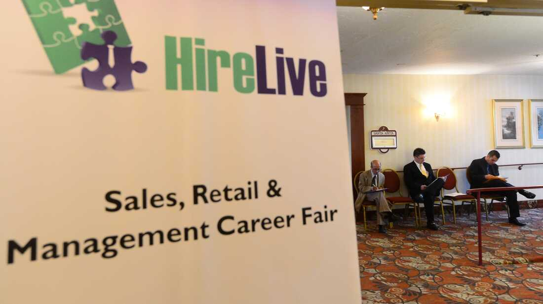 Job seekers filled out forms at this job fair last August in Arcadia, Calif.