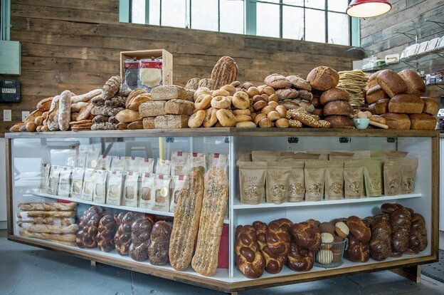 Hot Bread Almacen, the retail shop of Hot Bread Kitchen, is located in the historic La Marqueta building in East Harlem, New York.
