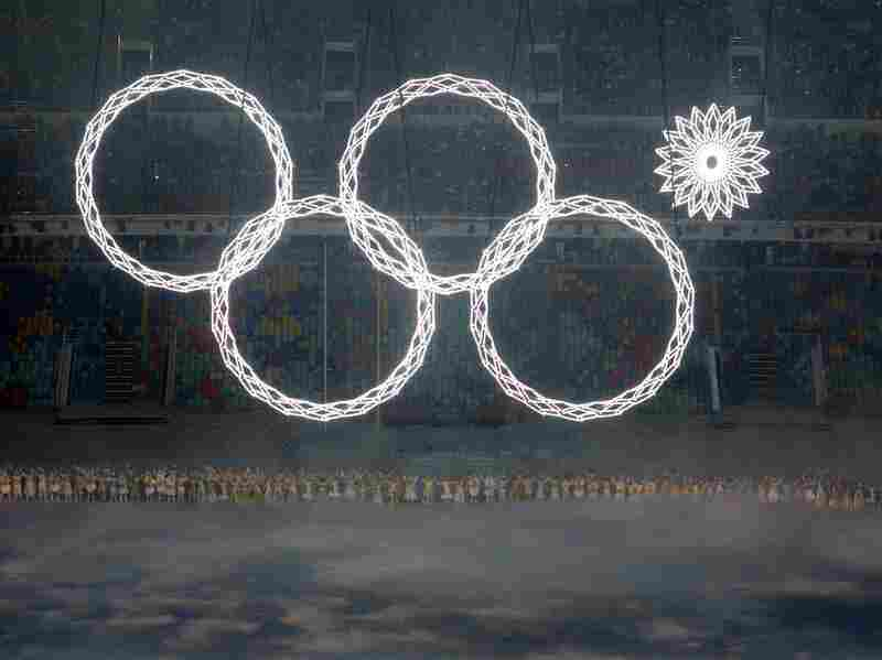 The fifth Olympic ring fails to deploy in the early moments of Friday's opening ceremony at the Fisht Olympic Stadium.