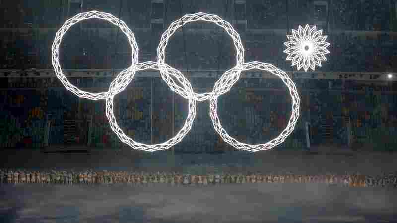 Ooops: The fifth Olympic ring fails to deploy in the early moments of the Opening Ceremony at the Fisht Olympic Stadium in Sochi, Russia, Friday.