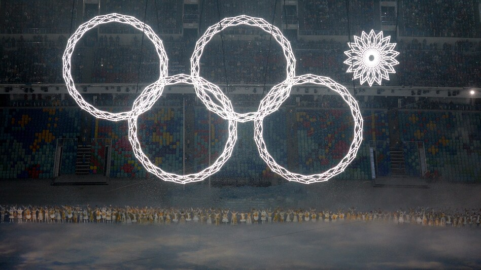<strong>Ooops:</strong> The fifth Olympic ring fails to deploy in the early moments of the Opening Ceremony at the Fisht Olympic Stadium in Sochi, Russia, Friday.