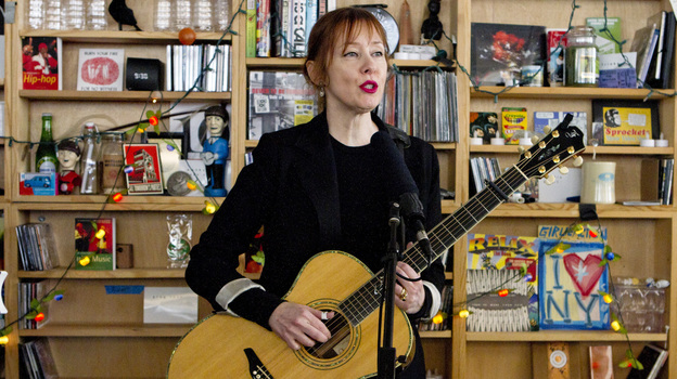Suzanne Vega performs at a Tiny Desk concert in January 2014. (Meredith Rizzo/NPR)
