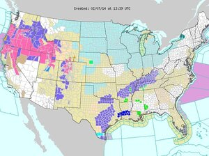 Weather map from the National Weather Service showing winter storm warnings in pink on Friday.