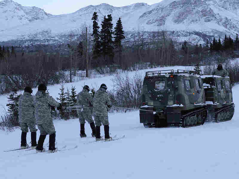 Northern Warfare Training Center instructors demonstrate skijoring using a vehicle last year in Alaska.