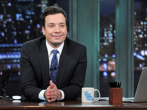 Jimmy Fallon hosts Late Night with Jimmy Fallon at Rockefeller Center on Jan. 28 in New York City. He'll be moving on to host The Tonight Show.