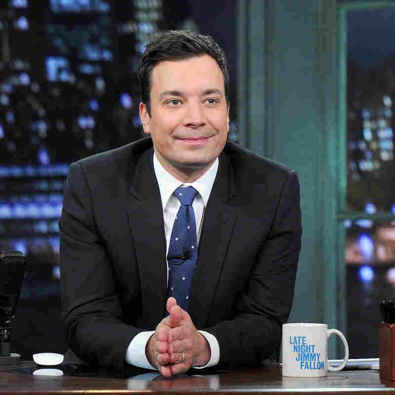 Jimmy Fallon Exits Stage (Just) Right