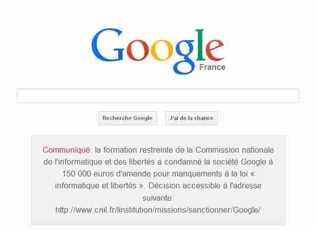 A screenshot of the Google.fr homepage, displaying the court-ordered message.