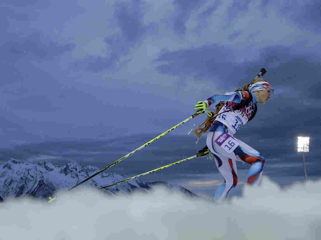 Gabriela Soukalova of the Czech Republic competes in the women's 7.5 km sprint during the second day of the 2014 Winter Olympics on Sunday in Sochi, Russia.
