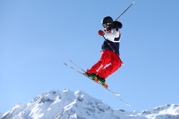 """Devin Logan practices during a ski slopestyle training session in Sochi on Friday. She says she doesn't stress about competing, even on a course that some have called dangerous. """"What we do is scary in general,"""" she says. """"But we know how to do it."""""""