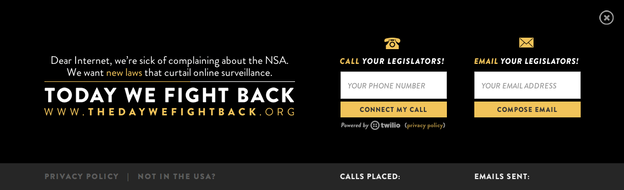 "Thousands of websites participating in the ""Day We Fight Back"" will show this banner, or something similar, to site visitors."
