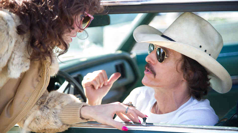 Rayon (Jared Leto) and Ron Woodroof (Matthew McConaughey) are fellow AIDS patients smuggling alternative medications into