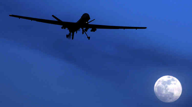 A U.S. drone in the sky over Kandahar Air Field in Afghanistan.