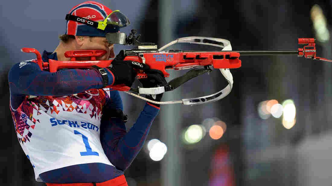Ole Einar Bjoerndalen of Norway practices in Sochi on Monday.