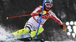 Germany's Maria Hoefl-Riesch during the slalom run of the women's alpine skiing super-combined event at the 2014 Sochi Winter Olympics.