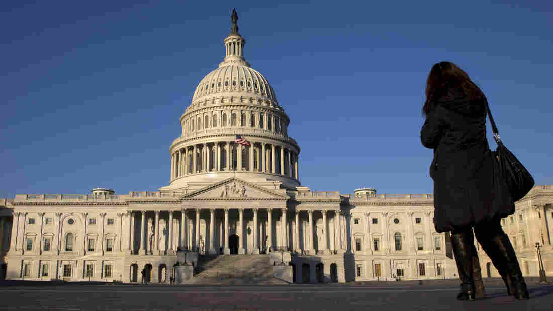 A woman looks at the U.S. Capitol on Dec. 31 in Washington.