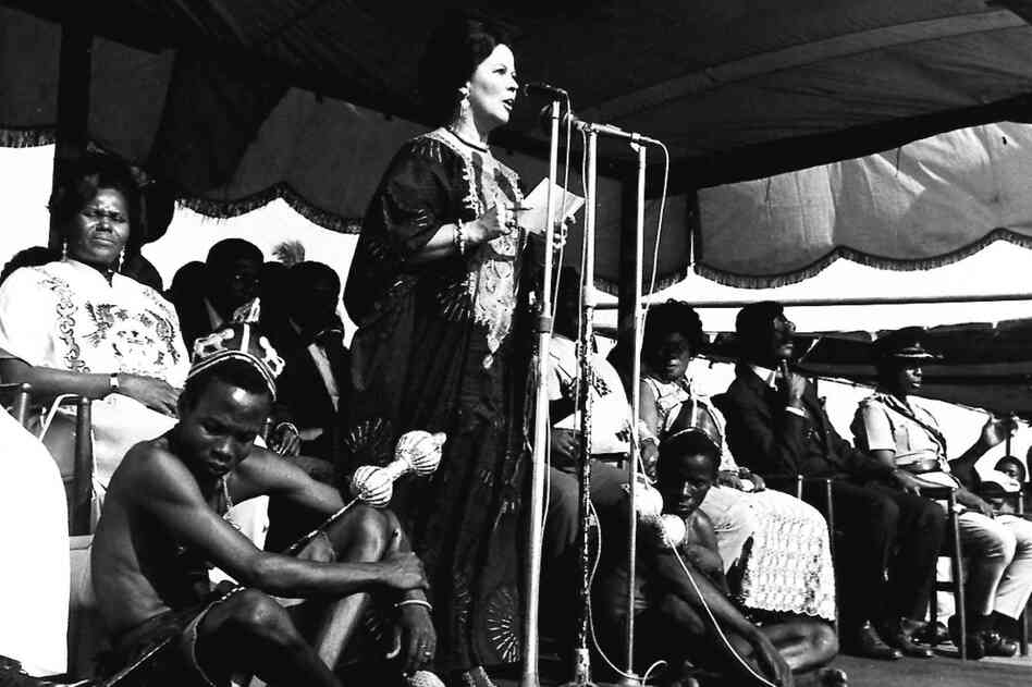 Temple addresses a gathering at the Fetu Festival at Cape Coast, Ghana, in 1975. She served as the ambassador to Ghana from 1974 to 1976.