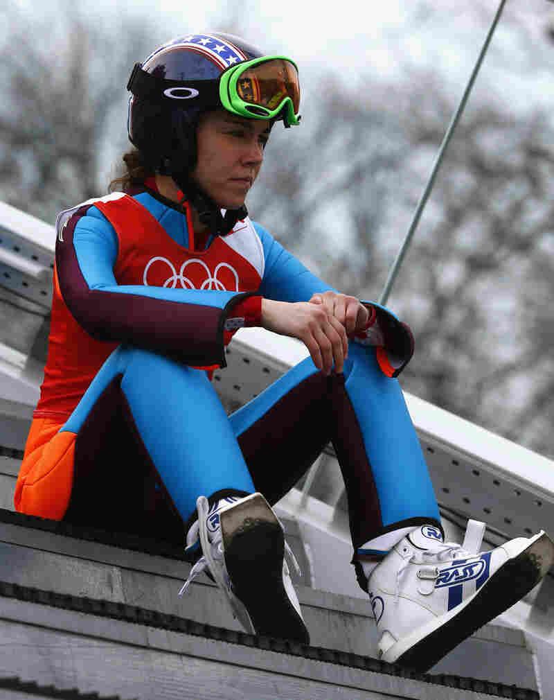 Sarah Hendrickson during a training event in Sochi on Sunday. Hendrickson suffered a devastating knee injury in August.