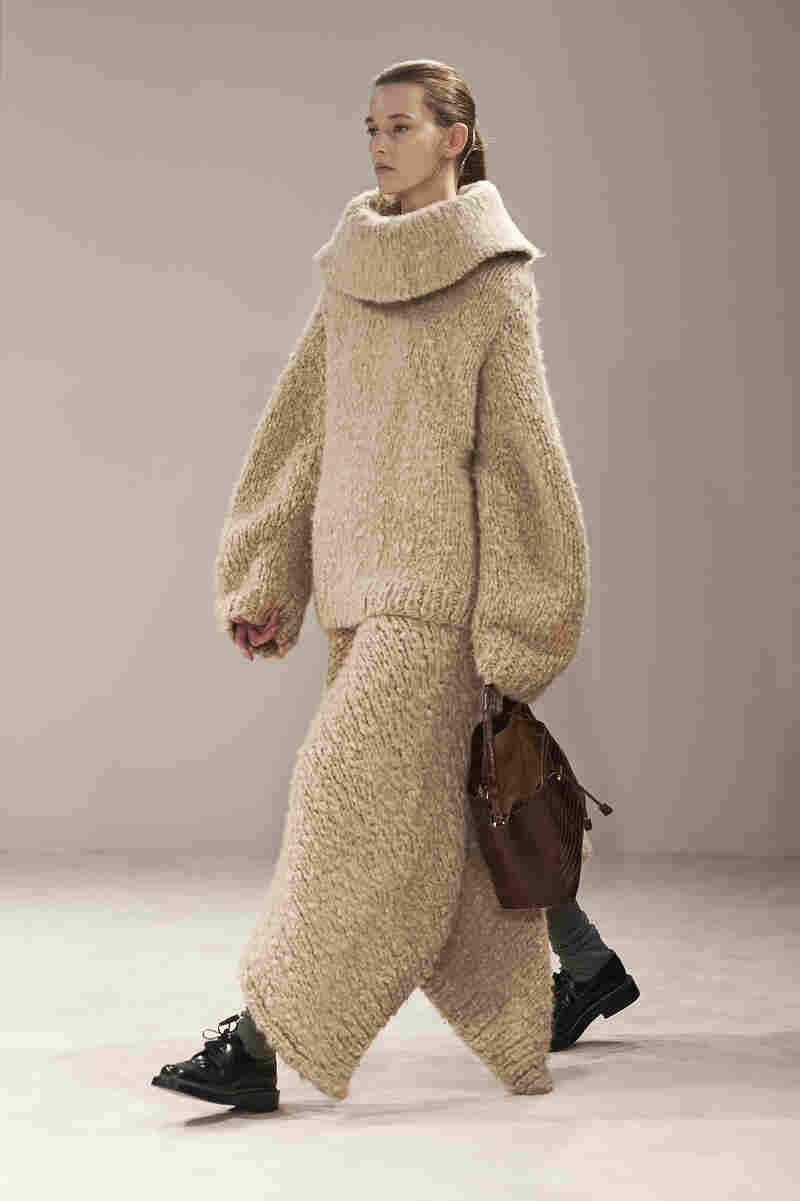 """Needleman says The Row has created an oversized sweater and sweater-skirt """"that looks like if you were to lay down, you could just wrap it over yourself like a blanket and go to sleep."""""""