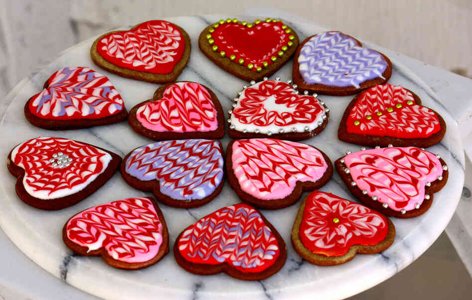 An assortment of marbled Valentine's cookies