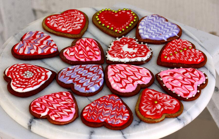An Assortment Of Marbled Valentineu0027s Cookies