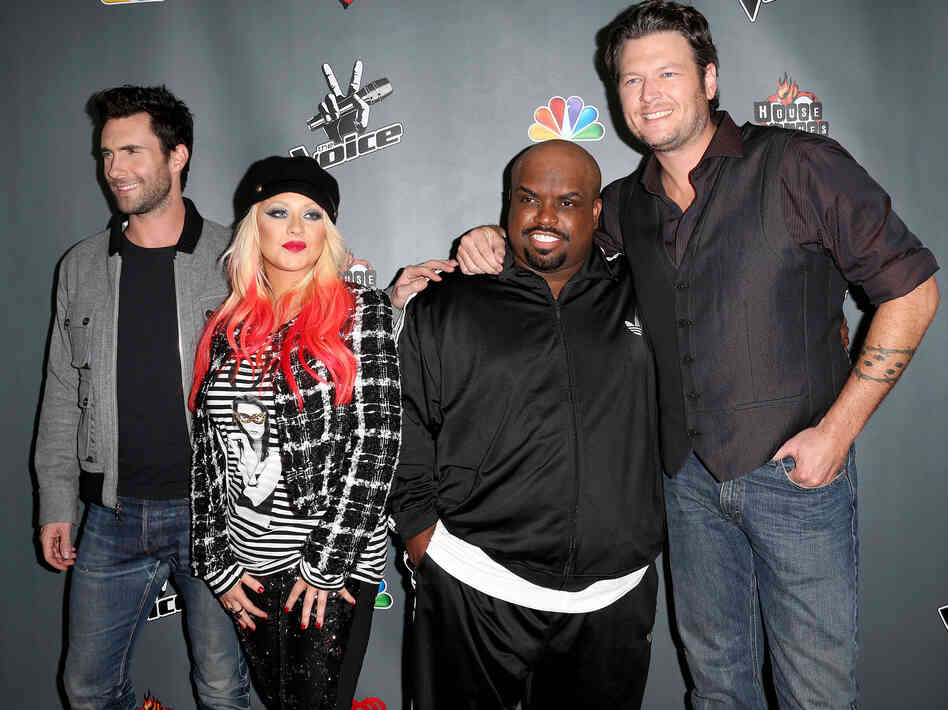 NBCUniversal's The Voice judges Adam Levine (from left), Christina Aguilera, CeeLo Green and Blake Shelton at the Season 3 Red Carpet Event at The House of Blues Sunset Strip in West Hollywood, Calif., in 2012.