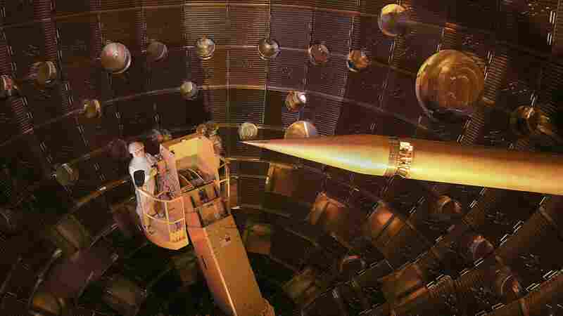 The National Ignition Facility's 192 laser beams focus onto a tiny target.