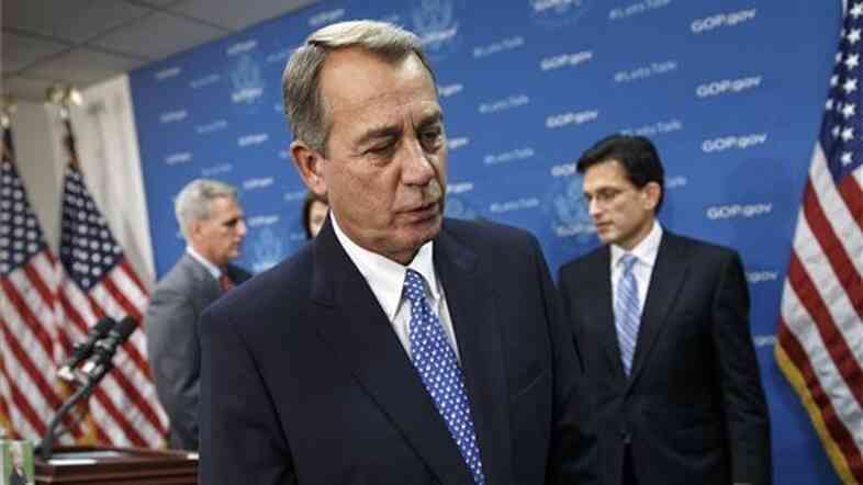 House Speaker John Boehner, Majority Whip Kevin McCarthy (left), and Majority Leader Eric Cantor (right) were among the 28 Republicans whose votes made it possible for most other Republicans to vote against the debt ceiling hike.