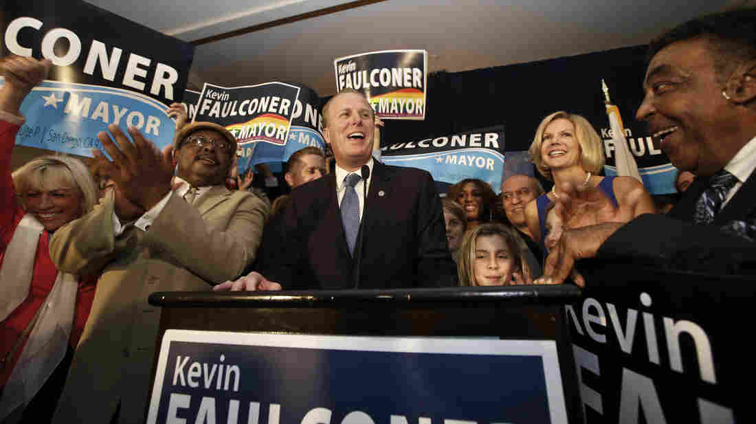 San Diego Mayor-elect Kevin Faulconer celebrated with his family and supporters Tuesday night as votes were counted.