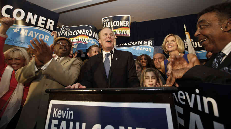San Diego Mayor-elect Kevin Faulconer celebrated with his family and supporters Tuesday night as votes were counted