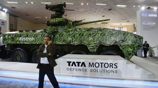 A visitor to a military  exhibition in New Delhi, India, on Feb. 6. Global military spending is expected to increase this yea
