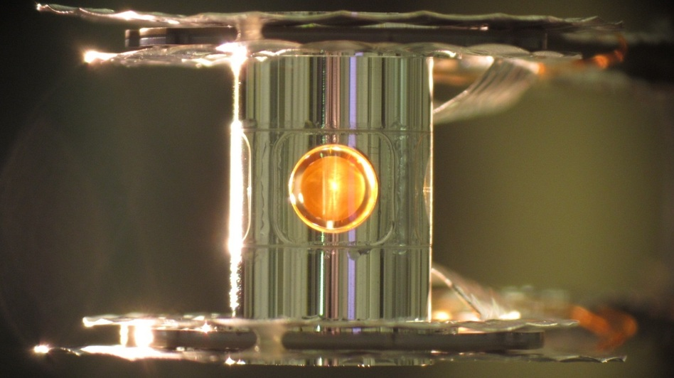 Inside a capsule the width of a No. 2 pencil sits a tiny ball of hydrogen fuel. The lasers squeeze the fuel until it fuses, releasing energy.