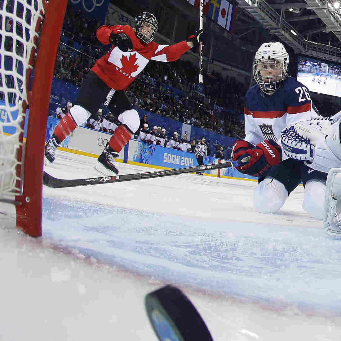 Olympic Photo Of The Day: Canada Slides By U.S. In Women's Hockey