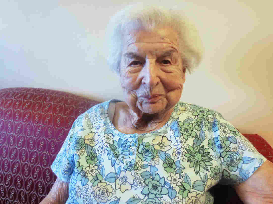 """Rosa Finnegan in her nursing home. """"As nice as this place is,"""" she says, """"there's an undercurrent — it's sad, also. I get up now in the morning and I'll say to myself, 'What am I gonna do all day now?' """""""