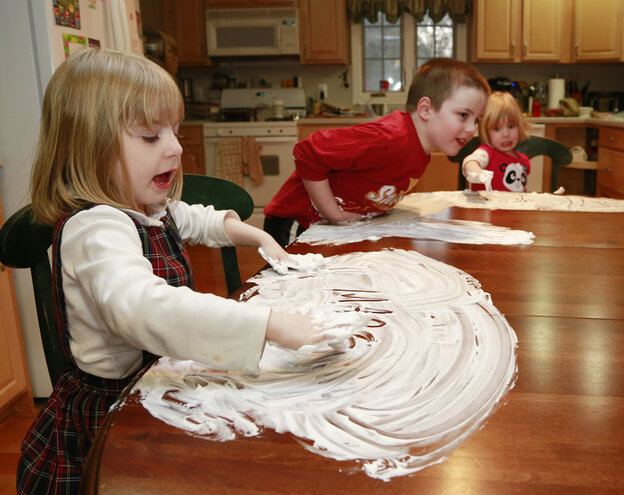 Last week in Indianapolis, the Kehoe children — from left, Maria, Anthony and Veronica — played with shaving cream as their mother Joanne tried to keep them occupied when the weather outside was awful.