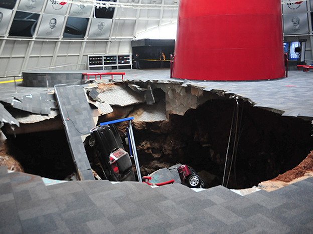 <strong>Down Went The Vettes:</strong> When a sinkhole opened up Wednesday at the National Corvette Museum in Bowling Green, Ky., eight of Chevrolet's iconic muscle cars were sucked in.