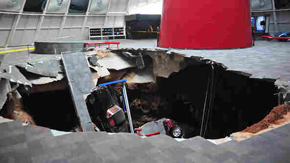 Down Went The Vettes: When a sinkhole opened up Wednesday at the National Corvette Museum in Bowling Green, Ky., eight of Chevrolet's iconic muscle cars were sucked in.